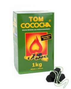 Tom Cococha - Hexagon Sticks (1kg)  Tom Cococha – Hexagon Sticks (1kg) tom cococha hexagon natuurkooltjes waterpijp kolen 1kg